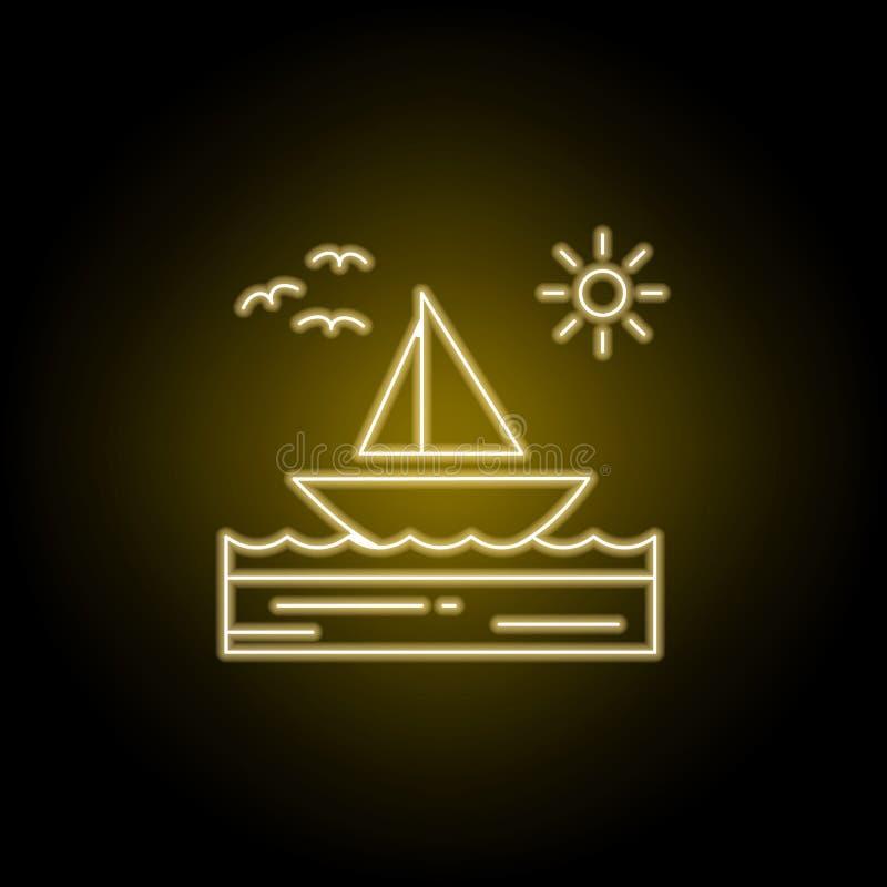 小船,海,晴朗,风船,鸟排行在黄色霓虹样式的象 风景例证的元素 标志和标志排行象 库存例证