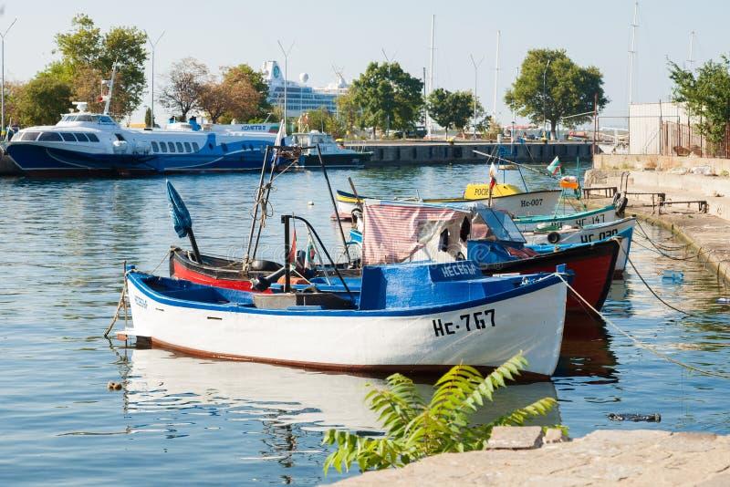 小船 Nassebar 建造者 码头 免版税库存图片