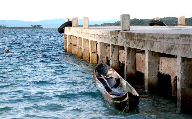 小船cayuca海岛巴拿马porvenir 库存照片