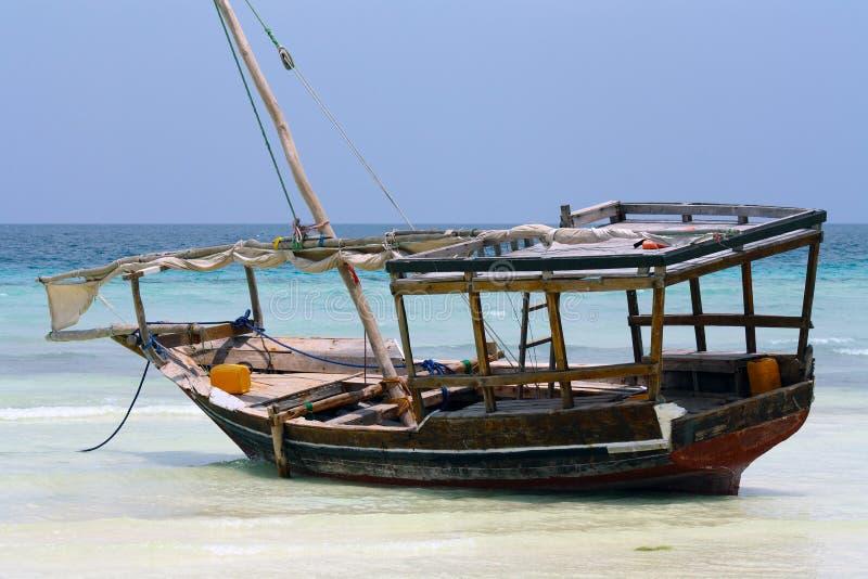 小船nungwi桑给巴尔 库存图片