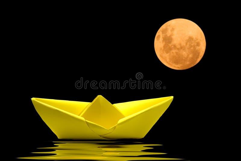 小船origami纸张 库存图片