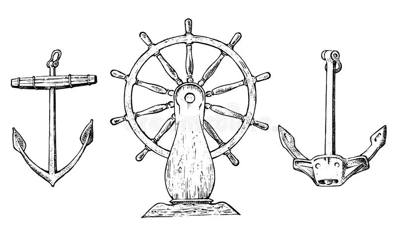 小船s轮子和海锚 海洋剪影,船舶旅途在海洋 被刻记的葡萄酒,手拉,大