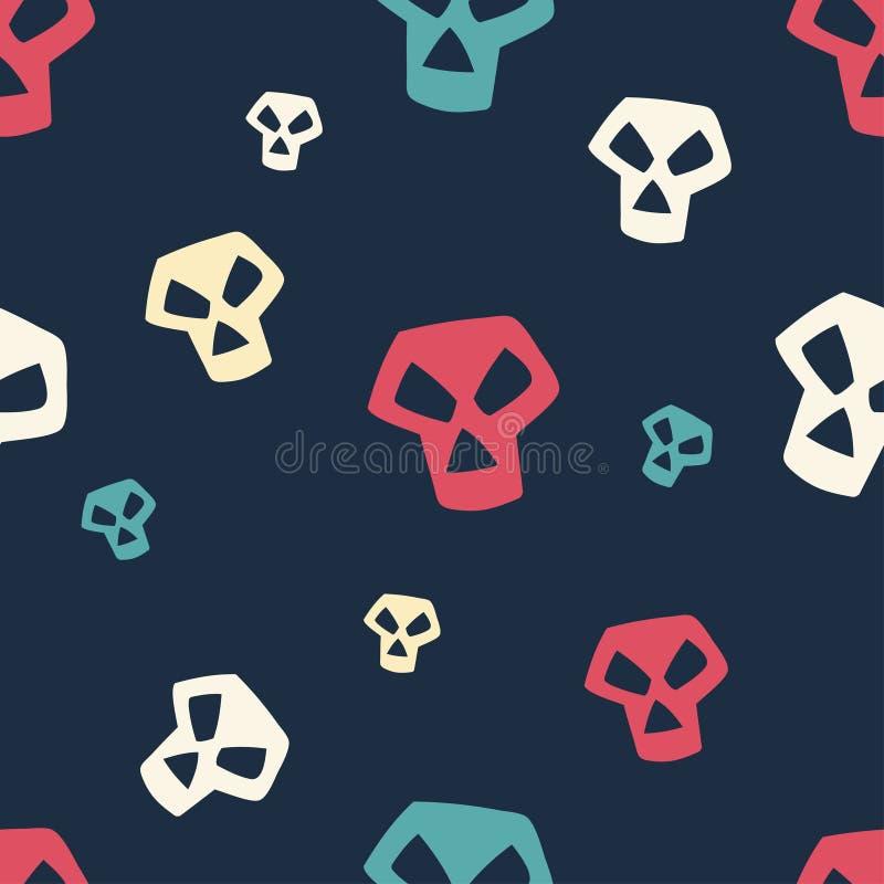 小色的头骨的样式 库存例证