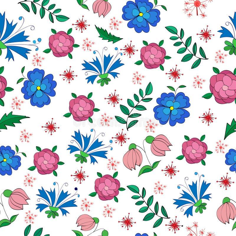 小花和叶子的呈杂色的无缝的样式 库存例证