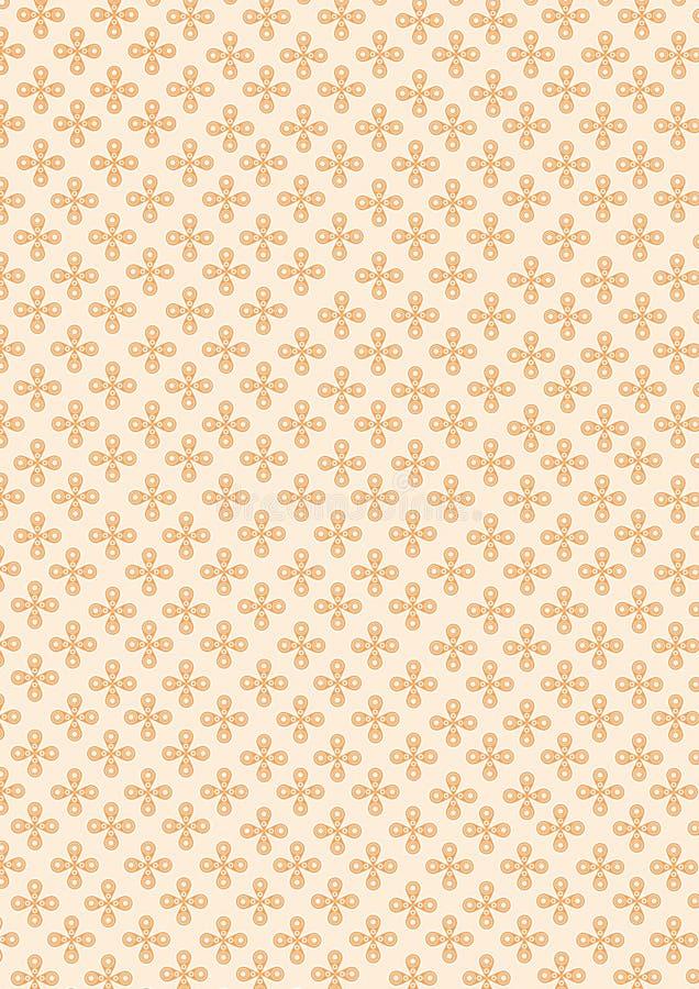 小花无缝在橙色淡色背景 库存例证