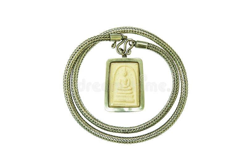 小菩萨Phra Somdej有银色项链的,普通性在泰国,在佛教教会艺术装饰任何Wat Rakang,哥斯达黎加里 库存照片