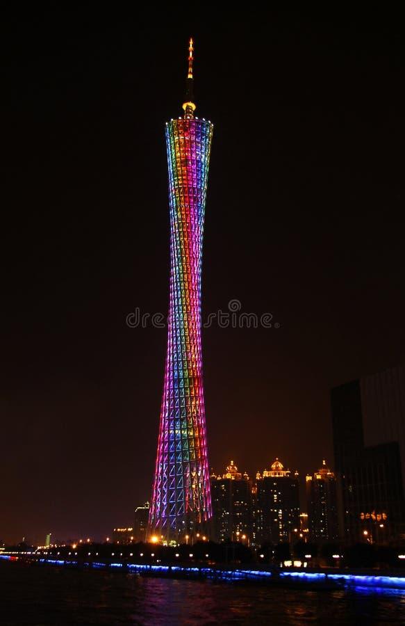 小行政区塔,在珠江的广州,中国地平线 库存图片