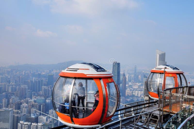 小行政区,广东,中国-大约2017年1月:小行政区塔缆车观点 免版税库存图片