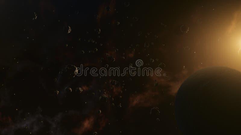 小行星围拢的行星 外层空间、宇宙艺术和科幻概念 皇族释放例证