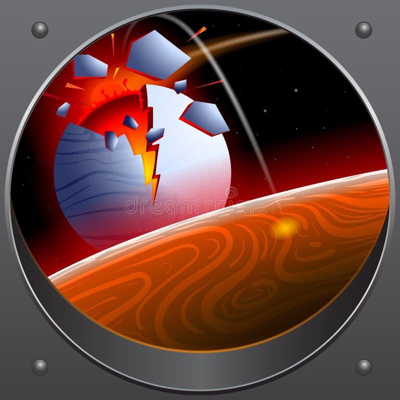 小行星的碰撞与行星的 从太空飞船的神色 库存例证