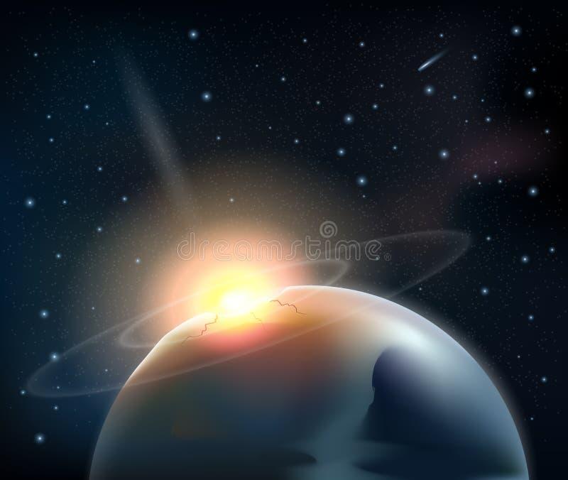 小行星的碰撞与行星的 向量例证