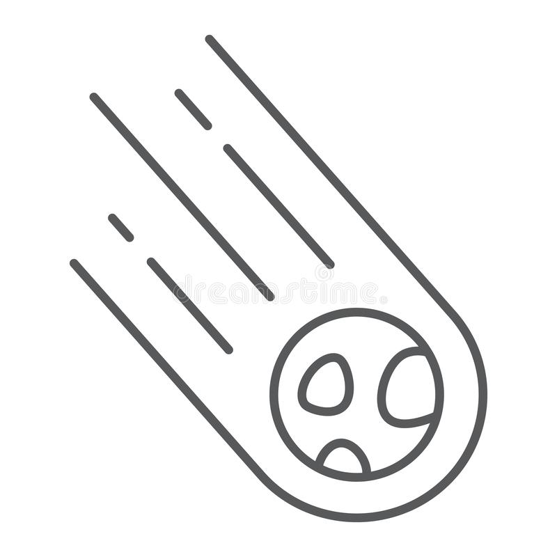 小行星稀薄的线象,空间和飞星,陨石标志,向量图形,在白色背景的一个线性样式 库存例证