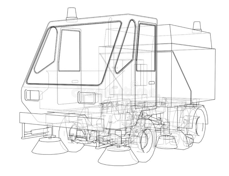 小街道干净的卡车概念 库存例证