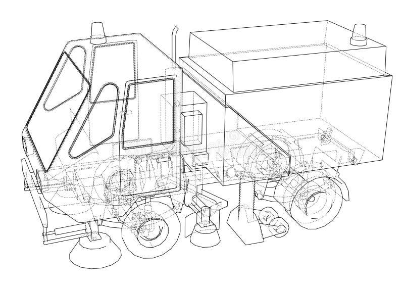 小街道干净的卡车概念 皇族释放例证