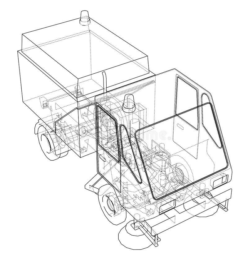 小街道干净的卡车概念 向量例证