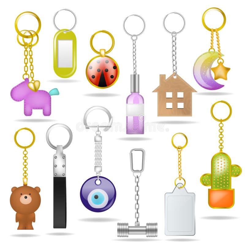 小装饰品传染媒介与银色圆环amd金属锁上的纪念品例证套的金属keychain钥匙的bibelot与 皇族释放例证