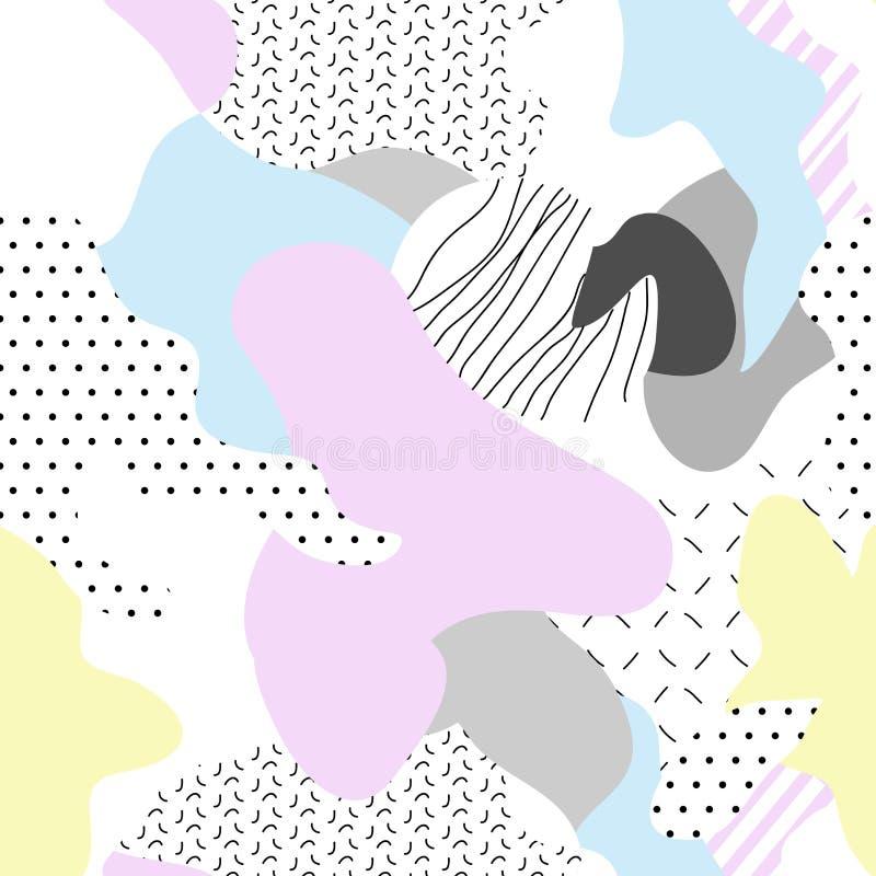 小说有机无缝的样式 几何和孟菲斯艺术 库存例证