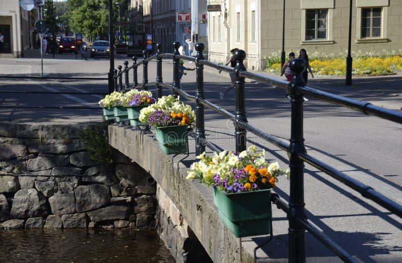 小路桥梁在克里斯蒂娜港,瑞典 免版税图库摄影
