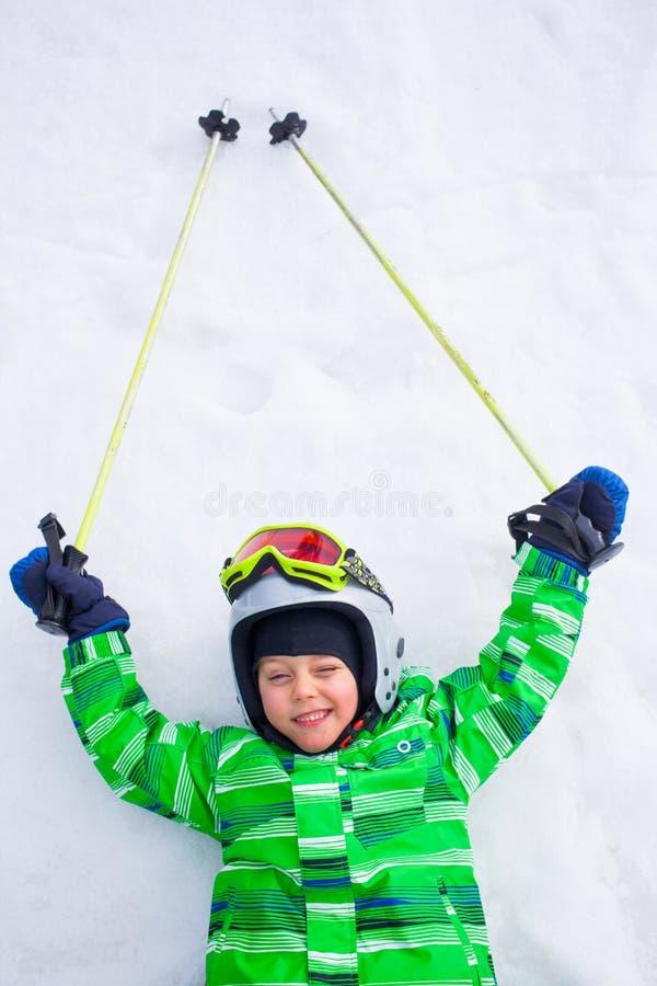 小辈滑雪者的照片 免版税库存图片