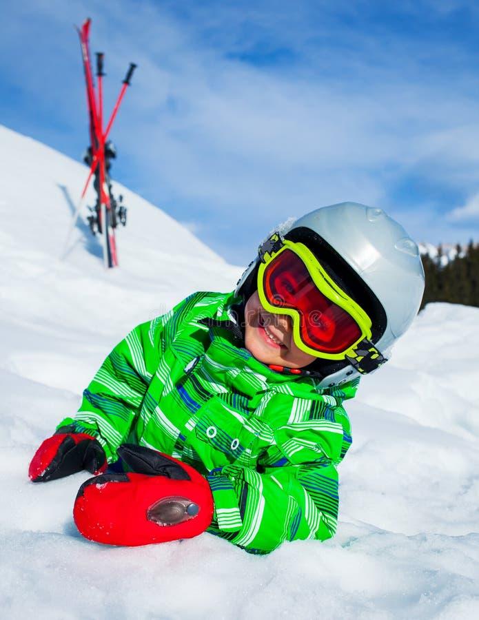 小辈滑雪者的照片 库存图片
