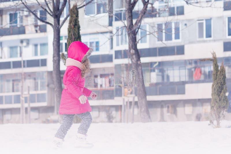 小逗人喜爱的甜女孩室外使用在冬天雪公园 免版税库存图片
