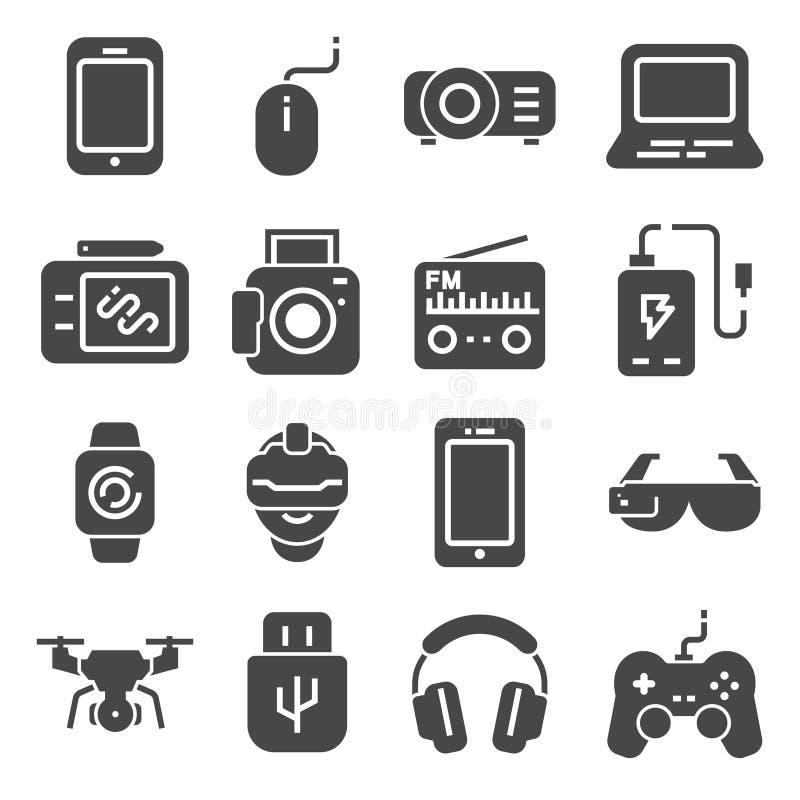 小配件灰色象集合 控制杆和存储卡、设备技术、照相机和智能手机,传染媒介例证 向量例证