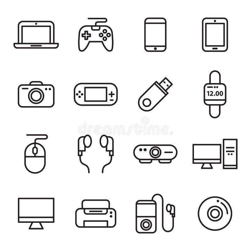小配件和设备象 向量例证