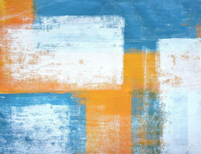 小野鸭和橙色抽象派绘画 库存例证