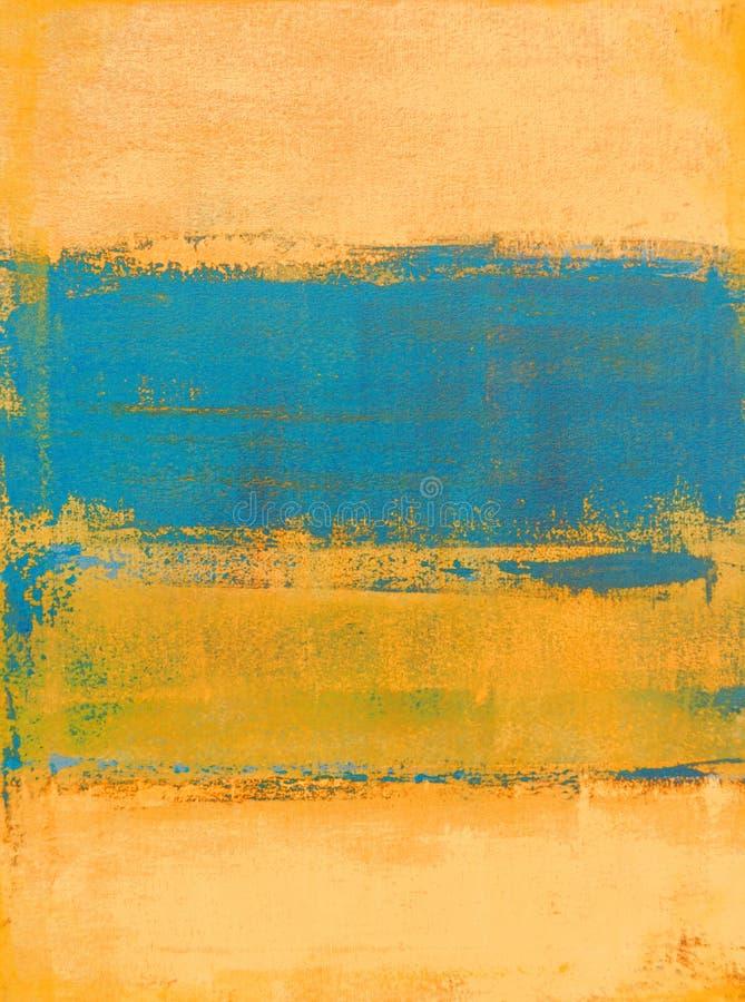 小野鸭和橙色抽象派绘画 免版税库存照片