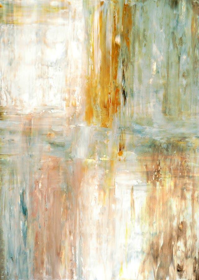 小野鸭和绿色抽象派绘画 库存图片