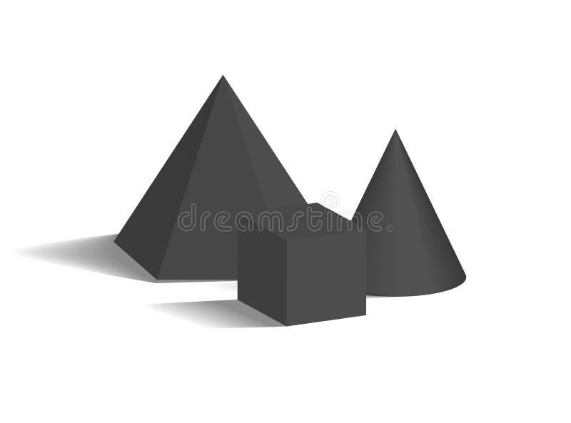 小锥体、四角锥和立方体3D塑造 皇族释放例证