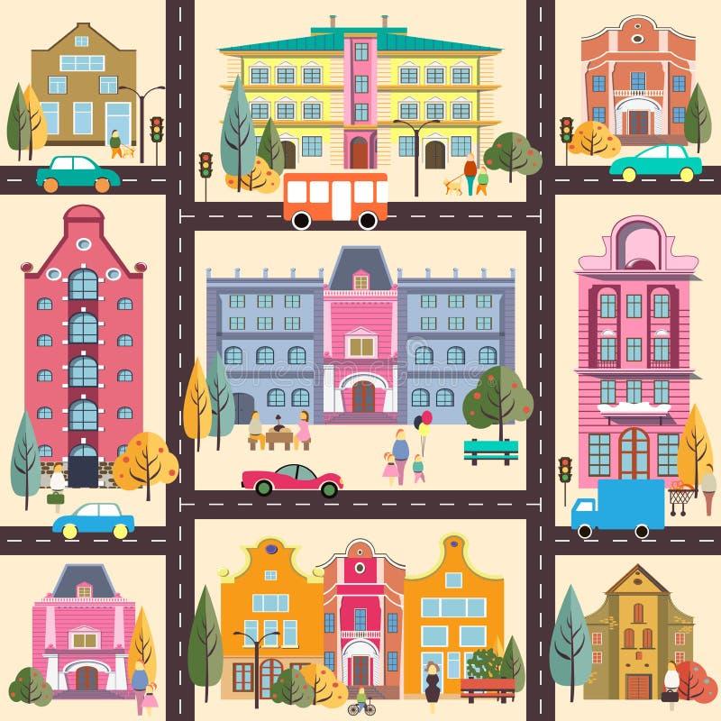 小镇和大厦 库存例证