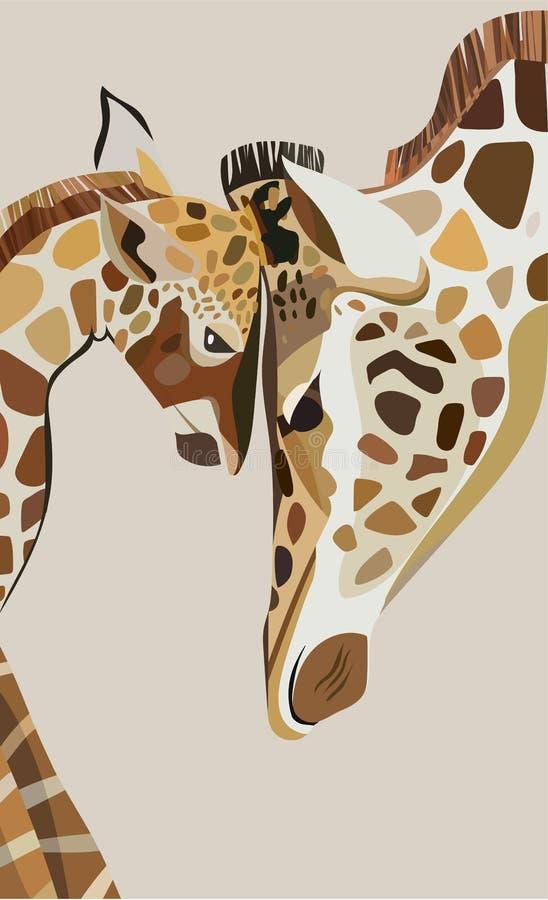 小长颈鹿的美好的可爱的逗人喜爱的美妙的多色夏天例证与他的长颈鹿妈咪传染媒介的 库存例证