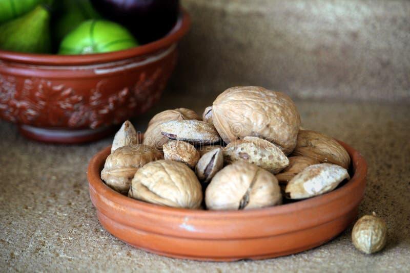 小陶瓷碗核桃和杏仁,与一碗无花果i 免版税库存照片