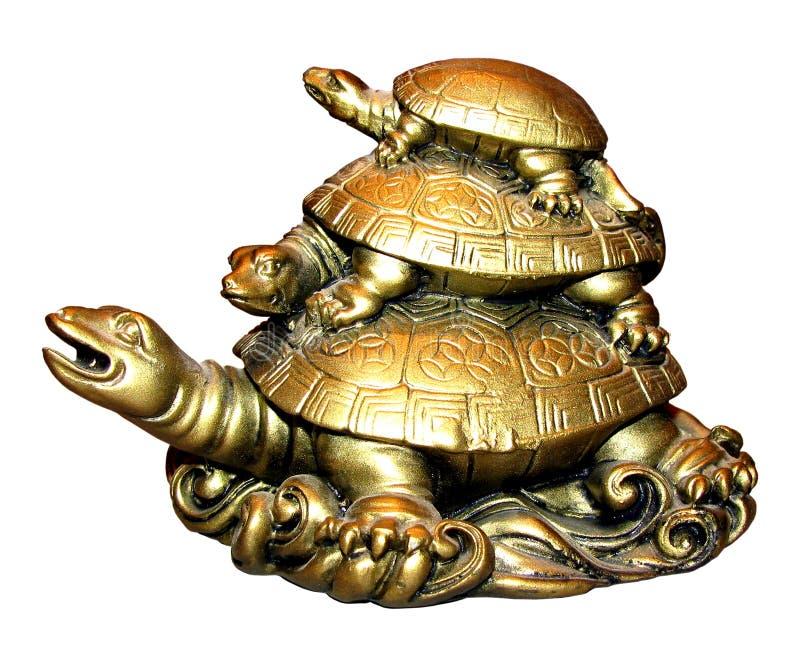 小雕象三乌龟 免版税库存图片