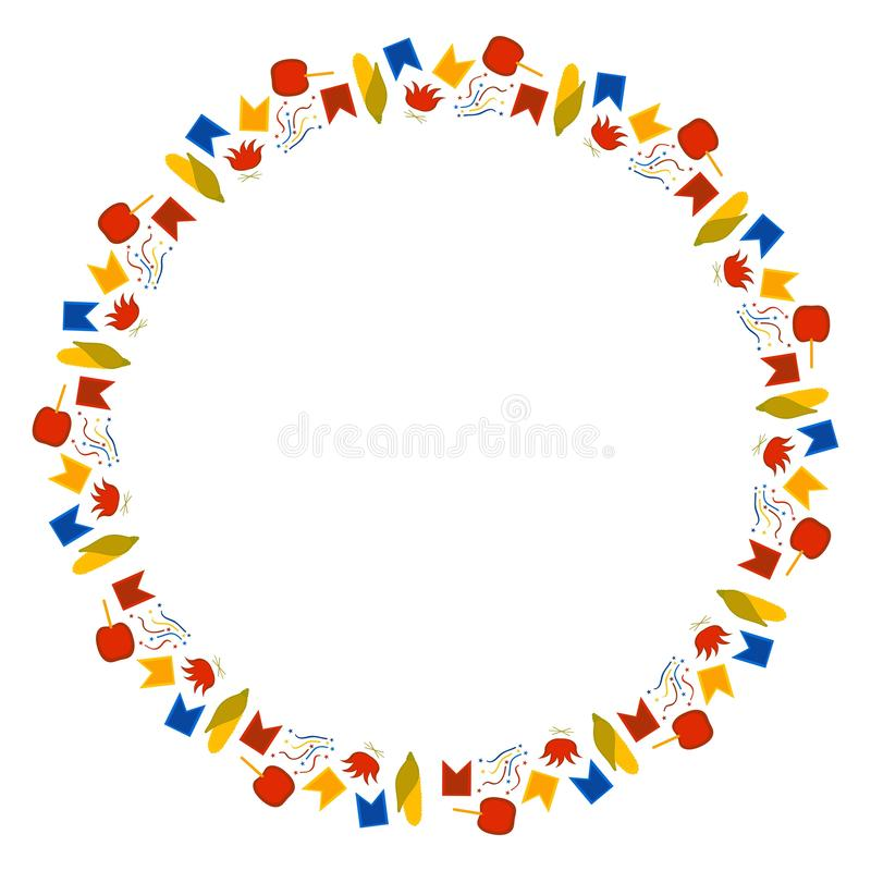 小零件圆的框架巴西节日的在Junina 6月费斯塔 旗子、五彩纸屑、玉米、焦糖苹果和篝火 库存例证