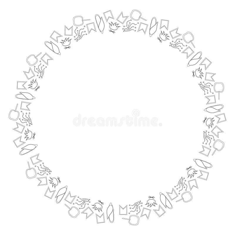 小零件圆的框架巴西节日的在Junina 6月费斯塔 旗子、五彩纸屑、玉米、焦糖苹果和篝火 Bl 向量例证