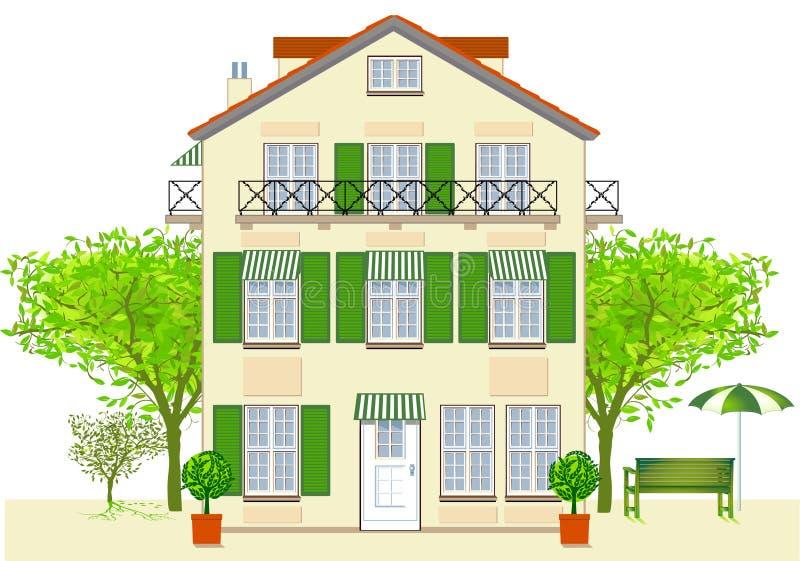 小餐馆旅馆房子 向量例证