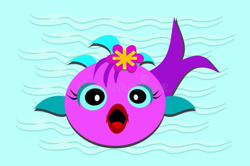 小鱼嘴开张了 向量例证