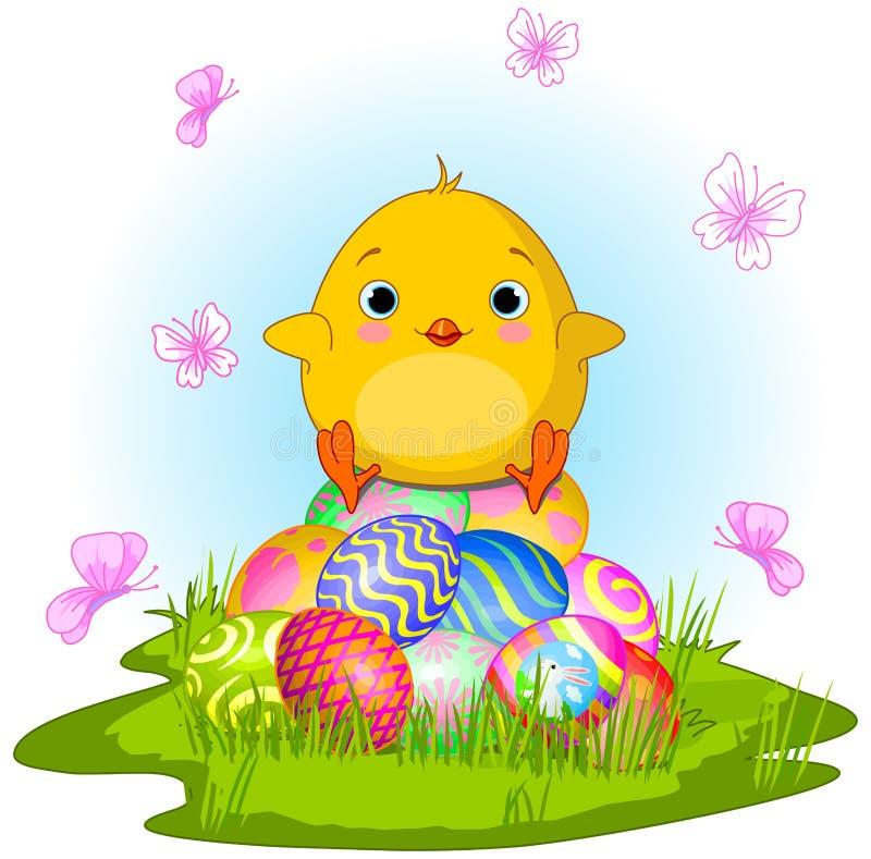 小鸡复活节黄色 库存例证