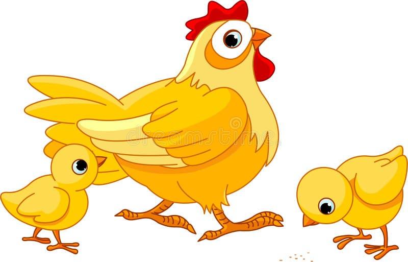 小鸡母鸡 皇族释放例证