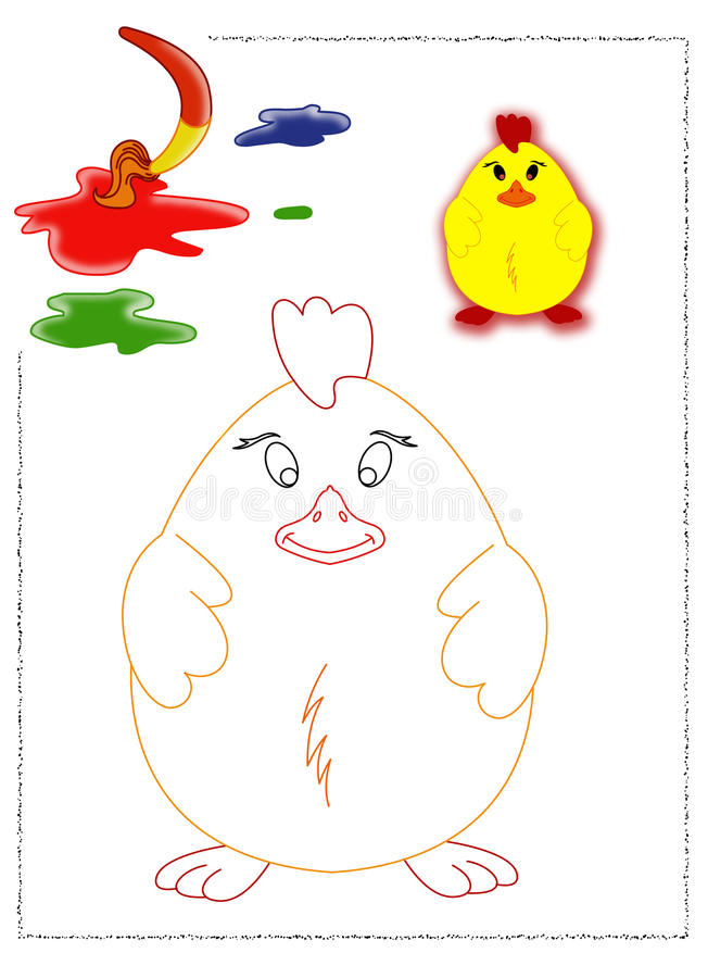 小鸡着色 向量例证