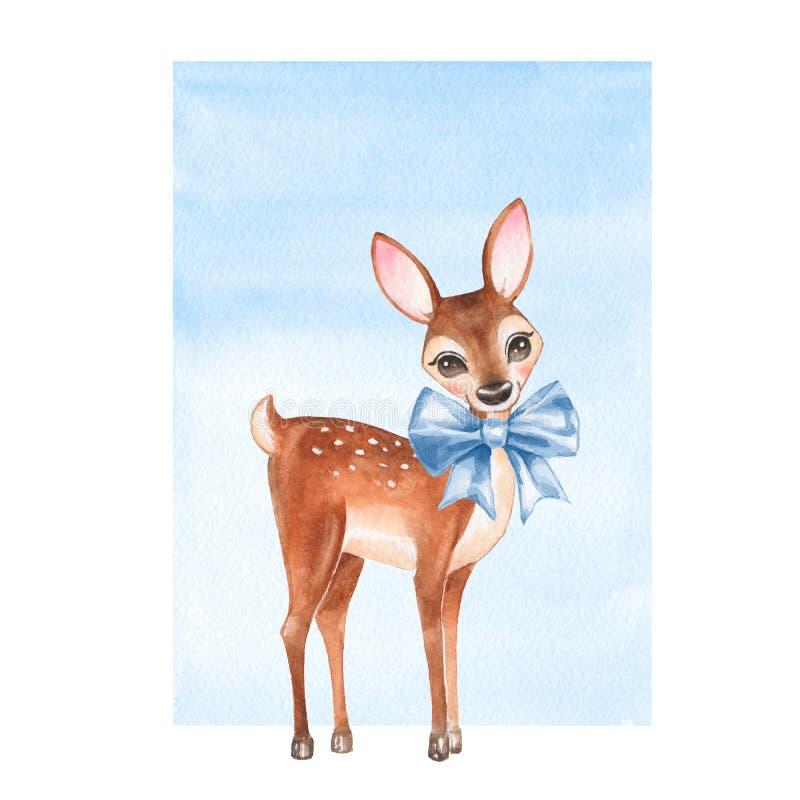 小鹿 与弓的手拉的逗人喜爱的小鹿 向量例证