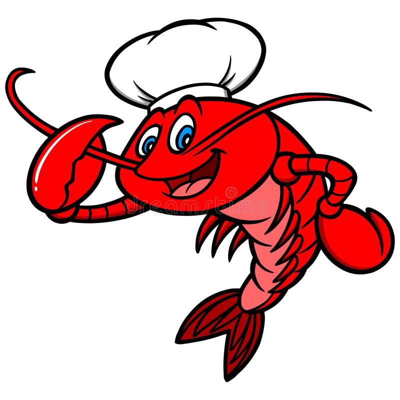 小龙虾厨师吉祥人 皇族释放例证