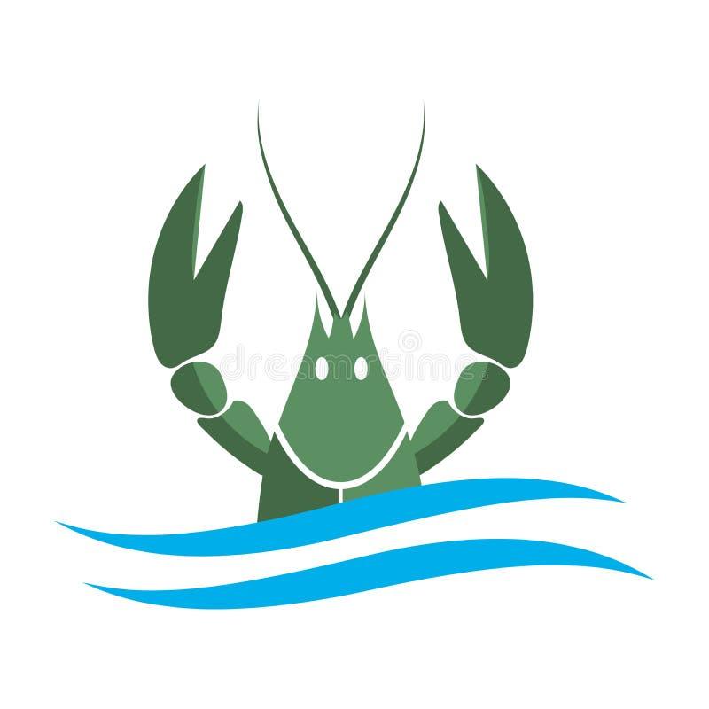 小龙虾徽标 绿河在白色背景或者甲壳动物的纤巧隔绝的龙虾、海螯虾 海鲜设计 库存例证