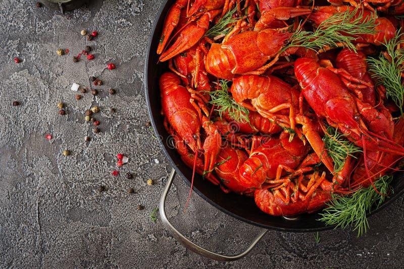 小龙虾 红色煮沸了在桌在土气样式,特写镜头上的crawfishes 库存照片