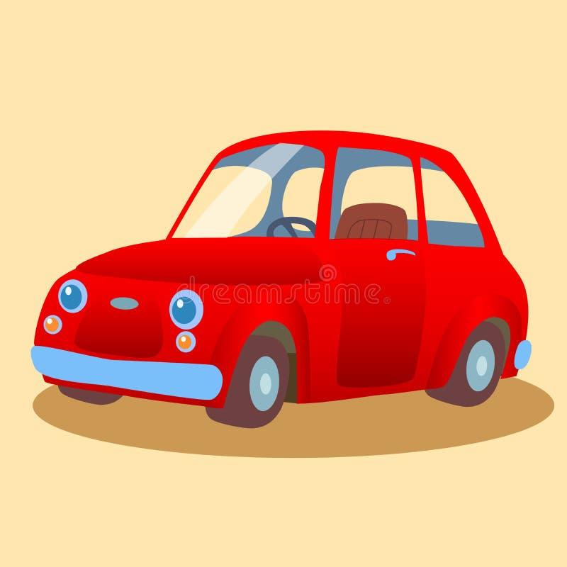 小,家庭的红色汽车 库存例证