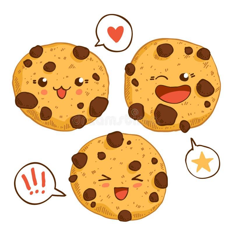 小组三个逗人喜爱的kawaii曲奇饼 库存例证