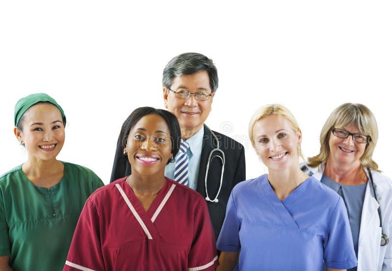 小组不同的不同种族的医疗人民 免版税图库摄影