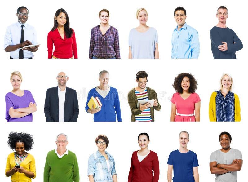 小组不同的五颜六色的快乐的人概念 库存图片
